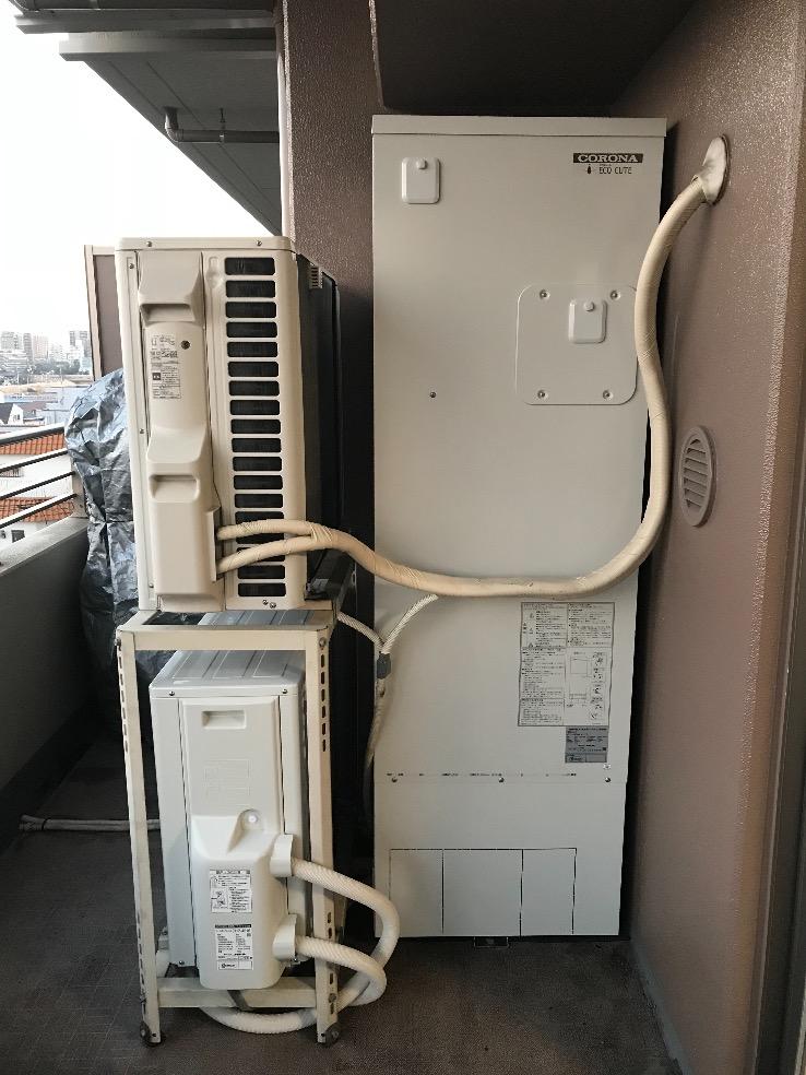 コロナエコキュートCHP-H3014AZからコロナエコキュートCHP-S30AY1-12|エコキュート交換工事|東京都足立区中川|マンション|ザレジデンス東京イースト